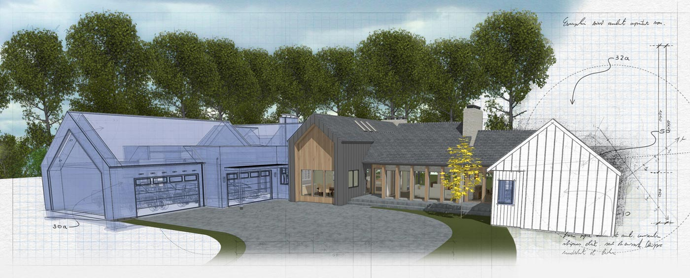 A custom home design with three rendering styles combined into one image