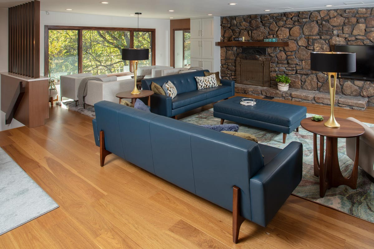 Interior design of a living room with custom modern furniture