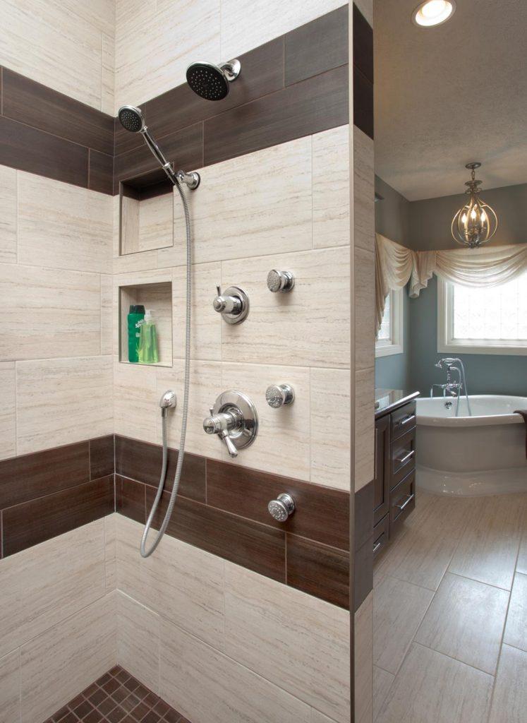 A modern luxury bathroom design with a shower and bathtub