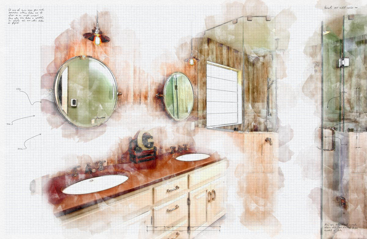 An art rendering of a high end bathroom design with a double sink and a large shower