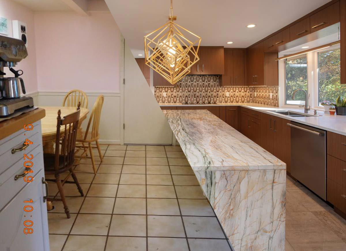 """A split screen showing a complete kitchen renovation with the old """"before"""" photo on the left and high-end """"after"""" photo on the right"""
