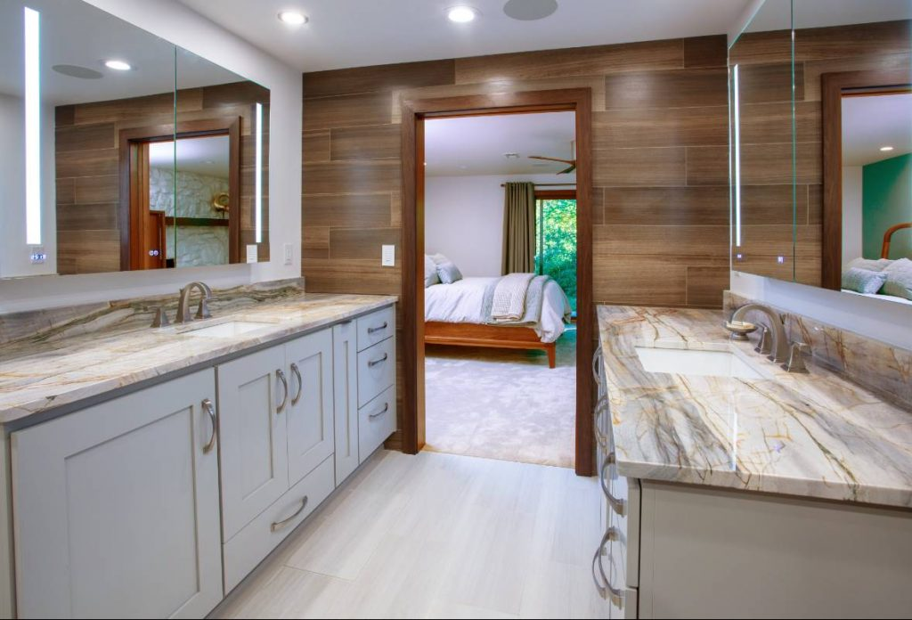 Bathroom countertops in a home remodeling project