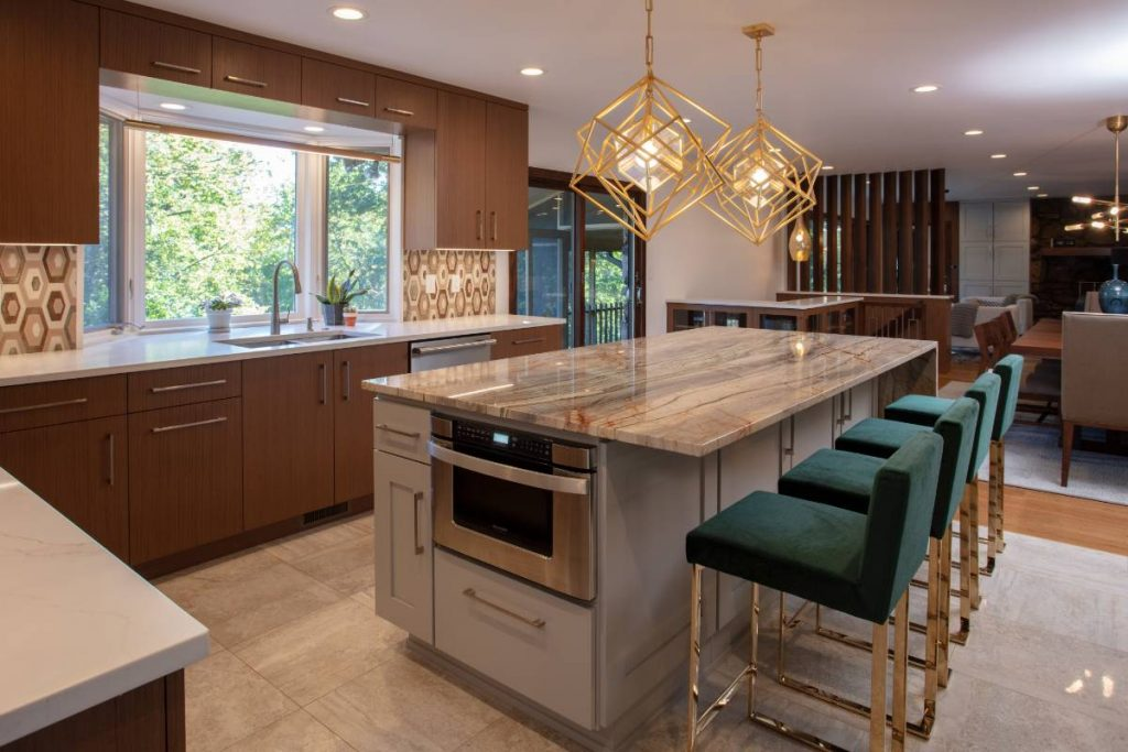 Large kitchen in a high-end home remodeling project