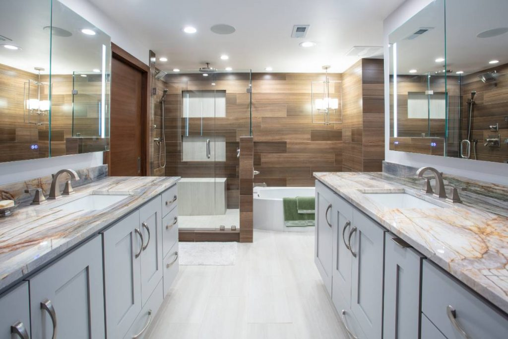 High-end bathroom countertops, shower, and bath in a home remodeling project