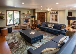 High-end living room including design selections in a home remodeling project