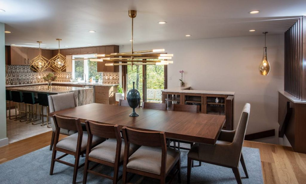 Dining room in a high-end home remodeling project