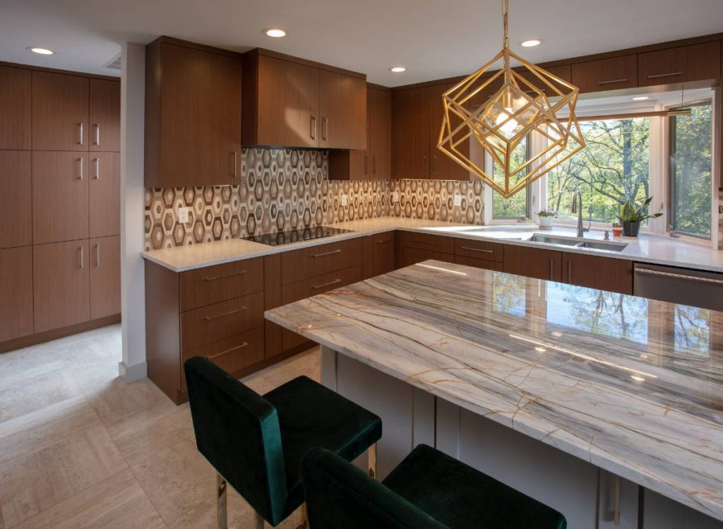 Kitchen counter bar in a high-end home remodeling project