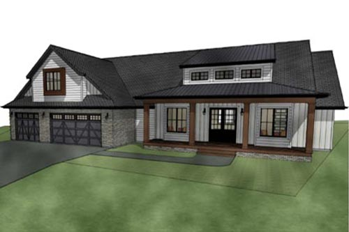 Rendering of the exterior of a custom home design