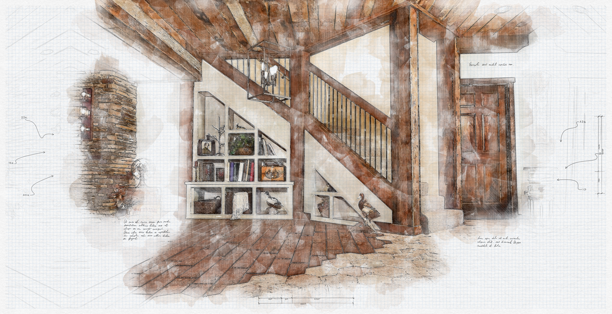 An art rendering of an interior design project with a bookshelf under the basement stairs